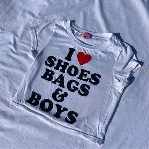SUGAR THRILLS baby tee I ❤️ shoes bags & boys